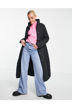 New Look Quilted belted midi coat in