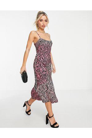 Miss Selfridge Satin slip dress in mixed zebra print-Multi