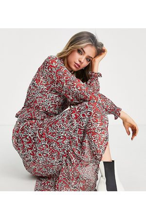 ONLY Exclusive midi dress in red paisley print-Multi