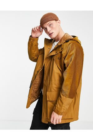 Fred Perry Cord panel hooded jacket in dark tan