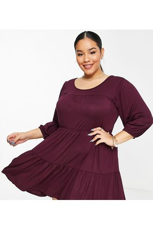Yours Tiered smock dress in berry