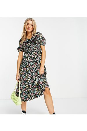 Wednesday's Girl Midi tea dress with contrast collar in retro ditsy floral-Multi