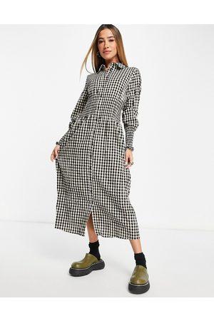 VILA Midi shirt dress with shirred waist in check-Multi
