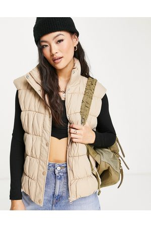 NA-KD X Anna Briand ruched detail padded gilet in -Neutral