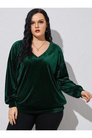 YOINS Women Long Sleeve - Plus Size V-neck Long Sleeves Sweatshirt