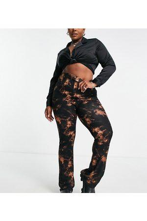 ASOS ASOS DESIGN Curve wide leg trousers in dark tie-dye-Multi