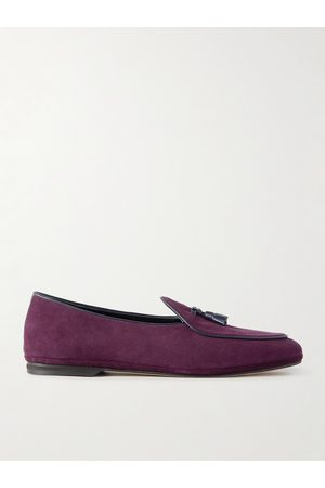 Rubinacci Men Loafers - Marphy Leather-Trimmed Suede Tasseled Loafers