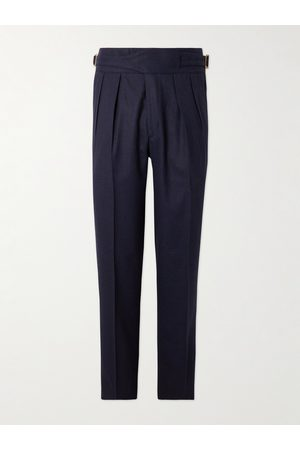 Rubinacci Men Formal Pants - Manny Slim-Fit Tapered Pleated Wool-Flannel Trousers